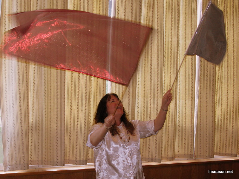 Worshipping with banners at the Espousal Center in Waltham, MA